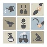 Landwirtschaftliche Ausrüstungs-Ikonen Stockbild
