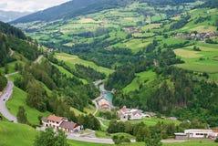 Landwirtschaftliche Dörfer, österreichische Alpen Stockfoto