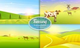 Landwirtschaftliche Landschaft Bauernhoflandwirtschaft Auch im corel abgehobenen Betrag Plakat mit Wiese, Landschaft, Retro- Dorf stock abbildung