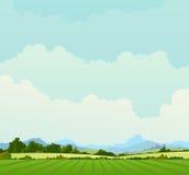 Landwirtschaftliche Landschaft des Sommers oder des Frühlinges Stockfotos
