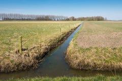 Landwirtschaftliche Landschaft geteilt durch einen schmalen Strom Lizenzfreie Stockfotos