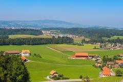 Landwirtschaftliche Landschaft, Gruyere Stockbild