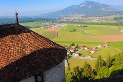 Landwirtschaftliche Landschaft, Gruyere Stockfotos