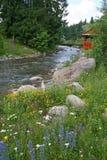 Landwirtschaftliche Landschaft Kleiner Fluss Stockfotografie