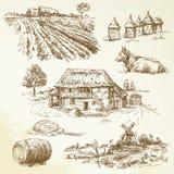 Landwirtschaftliche Landschaft, Landwirtschaft, bewirtschaftend Stockfotos