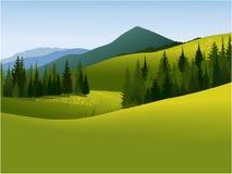 Landwirtschaftliche Landschaft mit Bergen Stockbilder