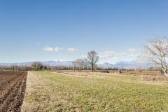 Landwirtschaftliche Landschaft mit dem Traktorpflügen Lizenzfreies Stockfoto