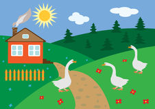 Landwirtschaftliche Landschaft mit Gänsen Lizenzfreies Stockbild
