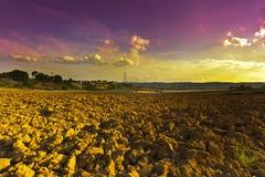 Landwirtschaftliche Landschaft mit gepflogenem Feld Lizenzfreie Stockfotos