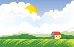 Landwirtschaftliche Landschaft mit Landwirt ` s Haus Lizenzfreie Stockfotos