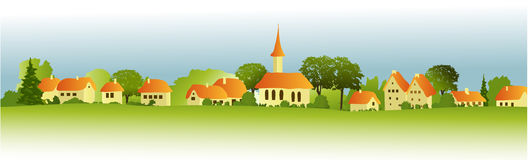 Landwirtschaftliche Landschaft mit weniger Stadt Lizenzfreie Stockbilder