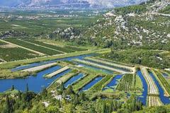 Landwirtschaftliche Landschaft von Bosnien/von Herzegowina Stockfoto