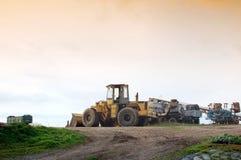Landwirtschaftliche machineries haben Ende der Arbeit Lizenzfreies Stockfoto