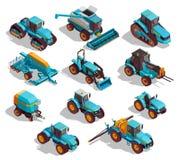 Landwirtschaftliche Maschinen-isometrische Ikonen eingestellt lizenzfreie abbildung