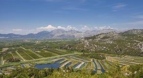 Landwirtschaftliche Obstgärten und Felder im Flussdelta neretva Croa Lizenzfreies Stockfoto