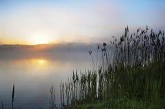 Landwirtschaftliche Szene auf Sonnenuntergang Lizenzfreies Stockfoto