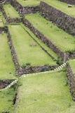 Landwirtschaftliche Terrassen von Inkas im heiligen Tal, Peru Lizenzfreies Stockbild