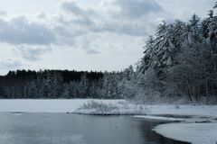 Landwirtschaftliche Winter-Szene Stockbilder