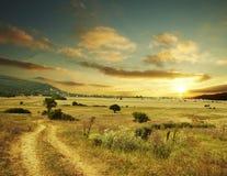 Landwirtschaftlicher Sonnenuntergang Stockfotografie