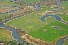 Landwirtschaftliches BewässerungAckerland Lizenzfreies Stockfoto