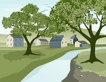 Landwirtschaftliches Dorf lizenzfreie abbildung