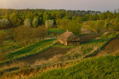 Landwirtschaftliches Feld nahe altem Holzhaus Ländliche Landschaft in Lizenzfreie Stockfotos