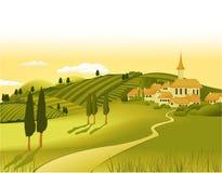 Landwirtschaftliches Landschaftwiyh wenig Stadt Stockfoto