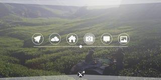 Landwirtschafts-Ackerland-Verbindungs-Globalisierungs-Technologie-Konzept Lizenzfreie Stockbilder