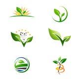 Landwirtschafts-Bauernhof-Anlage wachsen Logo Set lizenzfreie abbildung