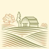 Landwirtschafts-Landschaft mit Scheune und Bäumen Stockfotografie