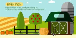 Landwirtschafts-Landwirtschaft und ländlicher Landschaftshintergrund Elemente für Stockbild