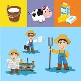 Landwirtschafts-u. Molkereiillustrationen Vektor Abbildung