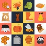 LandwirtschaftsFarbsatzikonen auf Farbhintergrund Stockfotografie
