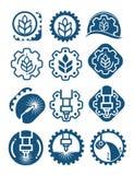 Landwirtschaftslogo stellte mit Getreidekörnern und industriellen Gängen ein Industrielle und landwirtschaftliche Ikone lokalisie Stockfoto