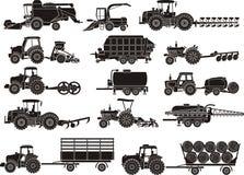Landwirtschaftsmaschinen eingestellt Stockbilder