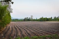 Landwirtschaftspflug bereiten den Boden f?r anfangen, Maniokafeldackerland zu pflanzen vor lizenzfreies stockbild