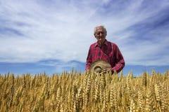 Landwirtstand auf dem Weizengebiet mit Hut in seinem Arm Lizenzfreie Stockfotografie