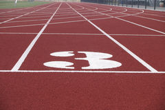Lane 3. Picture of lane 3 of a running track Stock Image