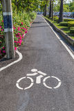 The lane for bicycles and info road sign marked on the street, e Royalty Free Stock Photo