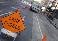 Lane Closed Stock Image