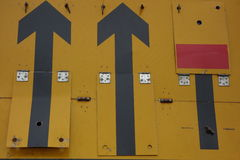 Lane Closure Sign. Yellow road sign indicating closure of outside (fast) lane royalty free stock photo