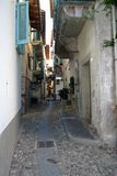 Lane with cobbled. Ancient lane of Mergozzo - Italy Stock Photos