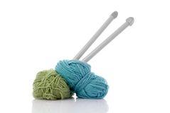 Lane di lavoro a maglia blu e verdi Immagini Stock Libere da Diritti