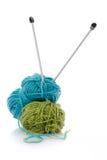 Lane di lavoro a maglia blu e verdi Immagine Stock
