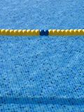 Lane dividers. On a swimming pool stock image