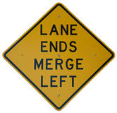 Lane Ends Merge Left. Lane Ends - Merge Left sign stock images