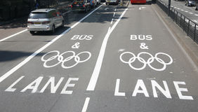 Lane för London olympisk trafikbegränsning Royaltyfria Bilder