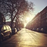 Lane. Holland den Haag 2014 morning cars sunrise Stock Photo