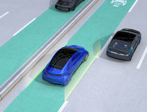 Lane keeping assist function concept for autonomous vehicle. 3D rendering image stock illustration