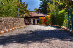 Lane leading to country cottage Stock Photography